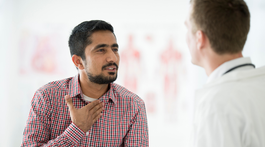 man seeing doctor for his chronic cough